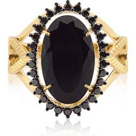 anel ouro amarelo diamantes negros quartzo negro