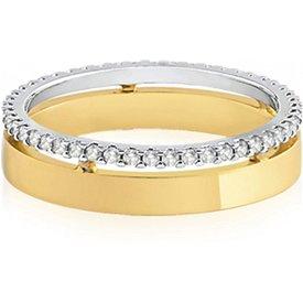 aliança casamento ouro amarelo branco diamantes love 5mm
