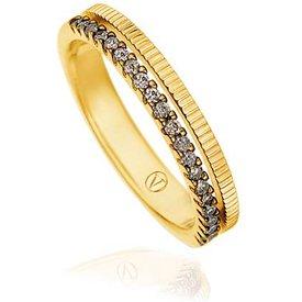 anel ouro amarelo diamantes brown