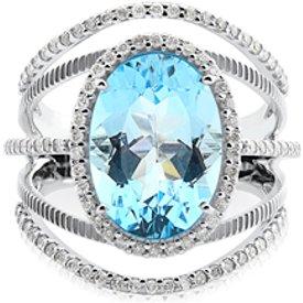 anel ouro branco topázio diamantes