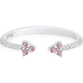 anel ouro branco safira rosa diamantes