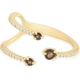 anel ouro amarelo diamantes quartzo fumê