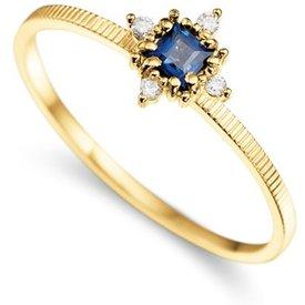 anel ouro amarelo safira diamantes