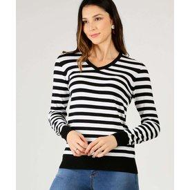 suéter feminino listrado manga longa marisa