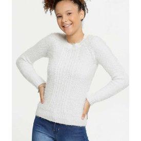 suéter juvenil tricô felpudo brilho manga longa marisa