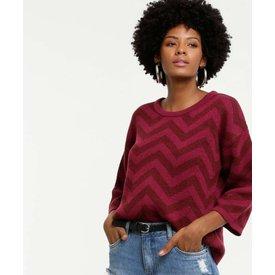 suéter feminino zig zag manga 7 8 marisa