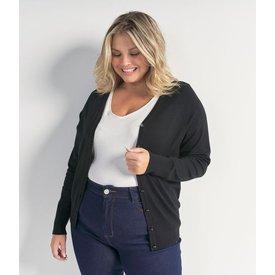 cardigan básico tricô sem estampa curve  plus size