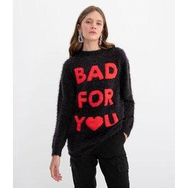 suéter liso estampa bad you