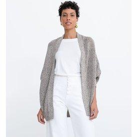 cardigan alongado tricô com fio metalizado punho largo
