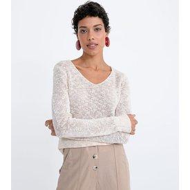 suéter liso tricô com decote v