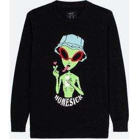 suéter masculino tricô estampa alien