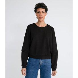 blusão fechado moletom pregas manga