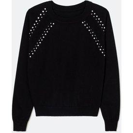 suéter manga longa lisa tricô com aplicações