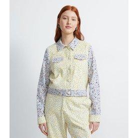jaqueta algodão estampada flores pequenas