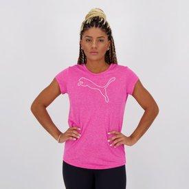 camiseta puma active feminina rosa mescla