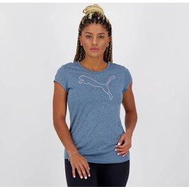 camiseta puma active heather feminina azul mescla