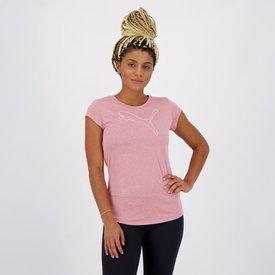 camiseta puma active logo heather feminina rosa