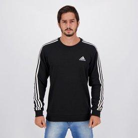 moletom adidas essentials iii stripes preto
