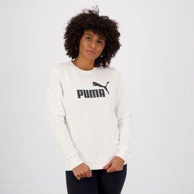 moletom puma essential crew feminino branco