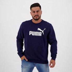 moletom puma essentials crew logo marinho