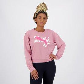 moletom puma modern sports crew feminino rosa