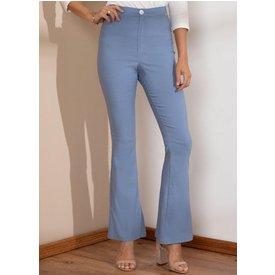 calça flare azul cintura alta
