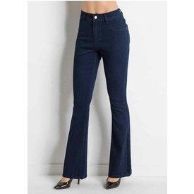 calça flare bolsos jeans escuro