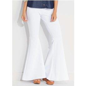 calça flare quintess branca cintura alta