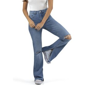 calça flare jeans abertura azul