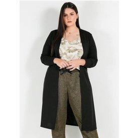 cardigan plus size longo preto fenda lateral