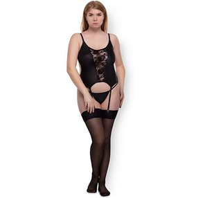 Allure Lace & Wet Look Corset Top, 2 Teile