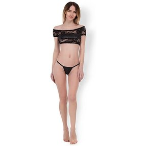 Allure Lace & Wet Look Top & G-String Set, 2 Teile