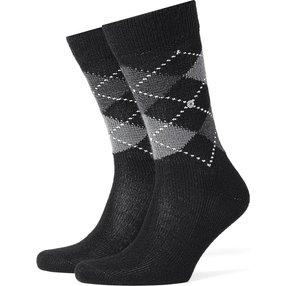 Burlington Preston Herren Socken, 46-50, Grau, Argyle, 24284-388003