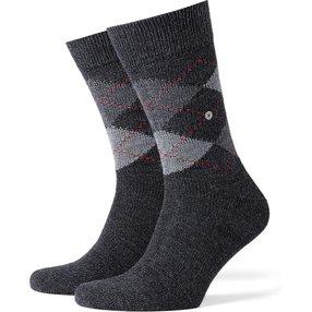 Burlington Preston Herren Socken, 40-46, Grau, Argyle, 24284-308702