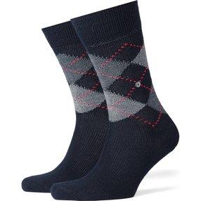 Burlington Preston Herren Socken, 40-46, Blau, Argyle, 24284-612502
