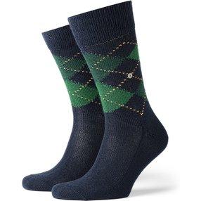Burlington Preston Herren Socken, 46-50, Blau, Argyle, 24284-618703