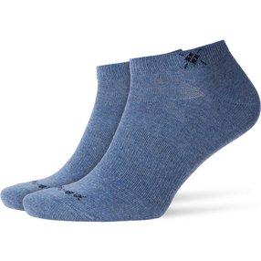 Burlington Everyday 2-Pack Herren Sneakersocken, 40-46, Blau, Uni, Baumwolle, 21052-666202