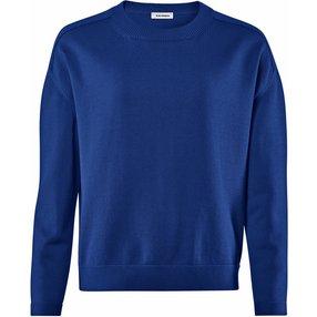 Burlington Damen Pullover Rundhals, Onesize, Blau, Uni, Baumwolle, 2259003-60460100