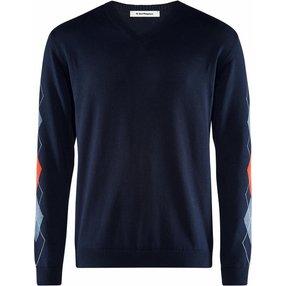 Burlington Herren Pullover V-Ausschnitt, XXL, Blau, Argyle, Baumwolle, 2159016-67330600