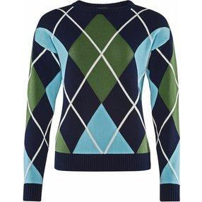 Burlington Damen Pullover Rundhals, L, Blau, Argyle, Baumwolle, 2259002-67330500