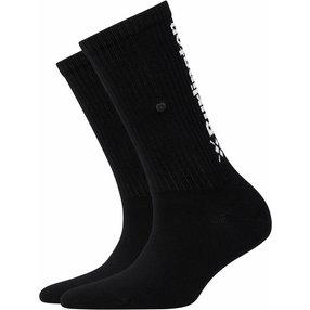 Burlington Black Logo Damen Socken, 36-41, Schwarz, Struktur, Baumwolle, 20792-300001