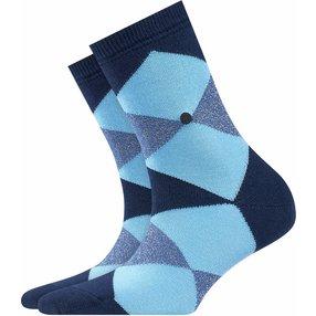 Burlington Black Bonnie Socken, Damen, 36-41, Blau, Raute, Baumwolle, 20790-612001