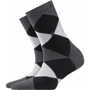 Burlington Black Bonnie Socken, Damen, 36-41, Grau, Raute, Baumwolle, 20790-308101