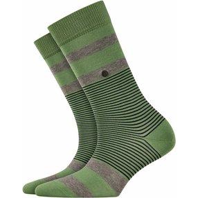 Burlington Black Stripe Socken, Damen, 36-41, Grün, Streifen, Baumwolle, 27003-774601
