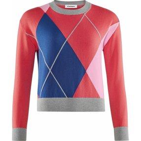 Burlington Damen Pullover Rundhals, XL, Rot, Argyle, Baumwolle, 2259000-85420600