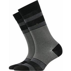 Burlington Black Stripe Socken, Damen, 36-41, Schwarz, Streifen, Baumwolle, 27003-300001