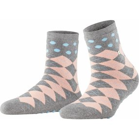 Burlington Argyle Dot Damen Socken, 36-41, Grau, Argyle, Schurwolle, 27021-339001