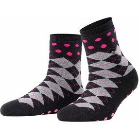 Burlington Argyle Dot Damen Socken, 36-41, Schwarz, Argyle, Schurwolle, 27021-300001