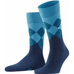 Burlington Hampstead Herren Socken, 40-46, Blau, Argyle, Baumwolle, 21912-654202