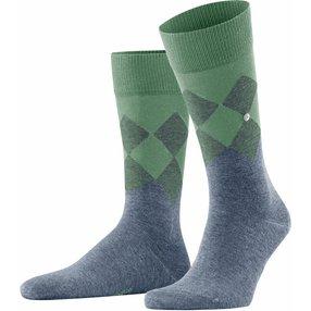 Burlington Hampstead Herren Socken, 40-46, Blau, Argyle, Baumwolle, 21912-666302